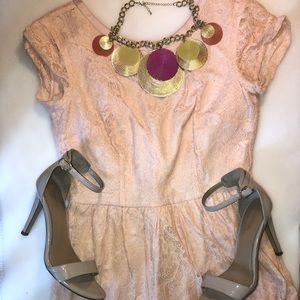 Short Peach lace dress